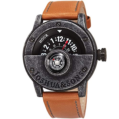 Joshua & Sons Men's JX116BKBR Compass Watch with Brown Strap - Twin Watch Sensor