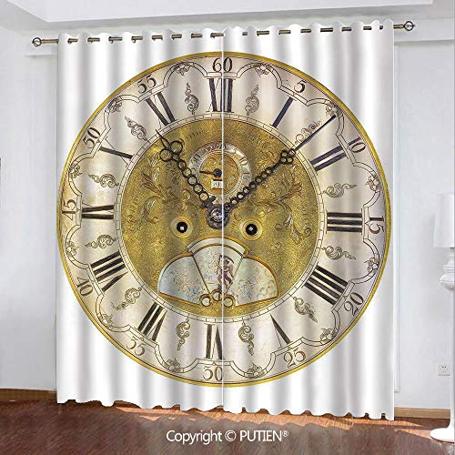Raiders Neon Oakland Clock - Satin Grommet Window Curtains Drapes [ Clock Decor,Vintage Theme A Seventeenth Century Ornamental Clock Face with Roman Numeral,Gold Black ] Window Curtain for Living Room Bedroom Dorm Room Classroom