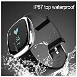 Waterproof Bluetooth Smart Watch with Blood Pressure /Heart Rate / Sleep Monitor Sports Fitness tracker Watch smart band Pedometer for IOS Android Smartphone( Black-Silver)