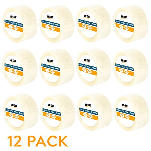 12 Clear Packing Tape Rolls - 1.88 inch x 60 Yards Heavy Duty Packaging Tape Refill Rolls by Iron Forge Tools