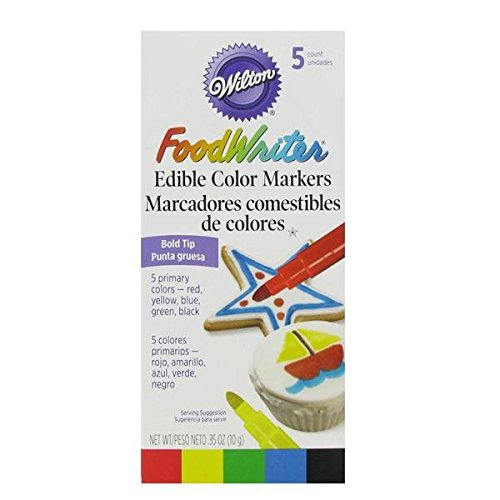 Wilton Set of 5 Bold Tip Food Writer Edible Color Markers