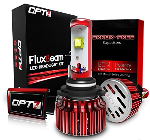 OPT7 Fluxbeam LED Headlight Kit w/ Clear Arc-Beam Bulbs - 9006 - 60w 7,000Lm 6K Cool White CREE - 2 Yr Warranty