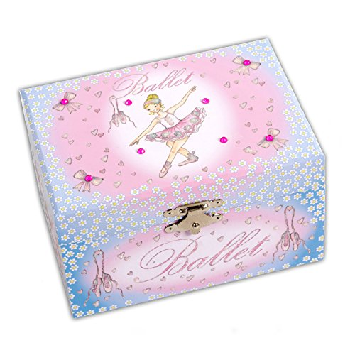 Ballerina Kids Musical Jewellery Box Pink and Blue Glittery Music Box Lucy Locket