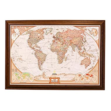 Executive World Push Pin Travel Map with Brown Frame and Pins 24 x 36