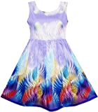 HN43 Girls Dress Sky Fantasy Colorful Angel Wings Feather Print Size 6