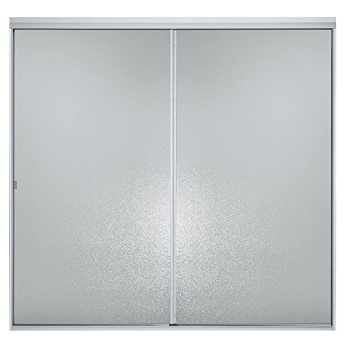 (STERLING 500C-59S 56-7/16-Inch H x 54-59-Inch W Bath Door Bypass with Hammered Glass, Silver)