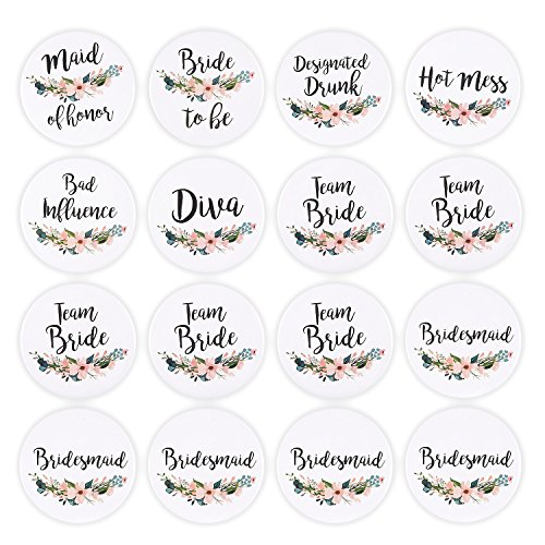 16 Pack - Bridal Party Pins - Wedding Party Buttons - Bridesmaid Gifts, Favors & Gifts, Team Bride, Maid of Honor Party Supplies, White, 8 Unique Designs (Wedding Button)