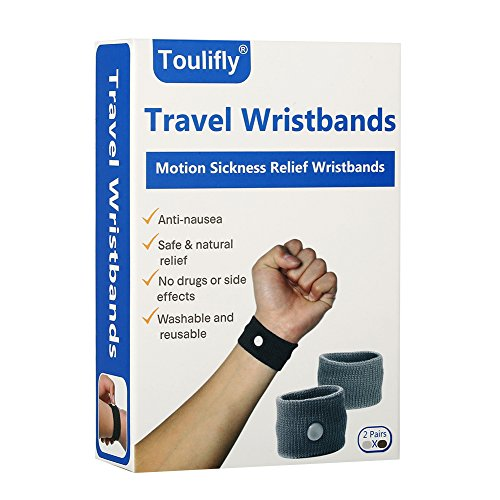 Acupressure Motion Sickness - Travel Wristbands,Travel Motion Sickness Relief Wrist Band,Natural Nausea Relief, 2-Pair