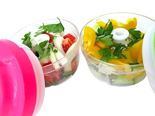 Cookware Mini Food Chopper-Pink- By My Healthy Way Food Processor-Manual Operation-PBA Free Plastic-Storage Lid -For Baby Prep and Portion Control Diet