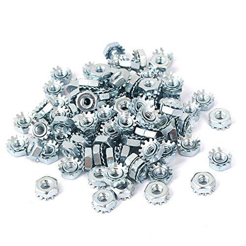 Uxcell a16033100ux0338 6#-32 Female Thread Zinc Plated Kep Hex Star Lock Nut (Pack of 100)