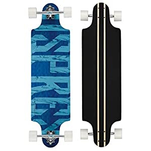 Osprey Text Twin Tip Longboard Skateboard, Blue, 38-Inch