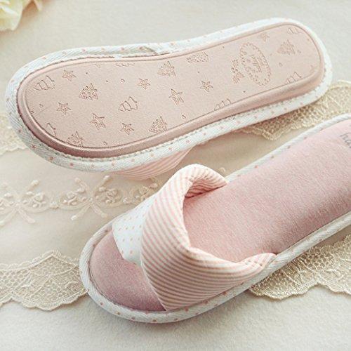 Fortuning's JDS Le donne delle ragazze delle signore cotone Casa pantofole banda e Dot rimonta elegante Infradito flatform aperto Sandali dita dei