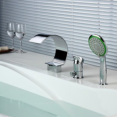 Contemporary chrome 3 hole waterfall bathroom faucet with hand shower by FAUCET&YAMEIJIA