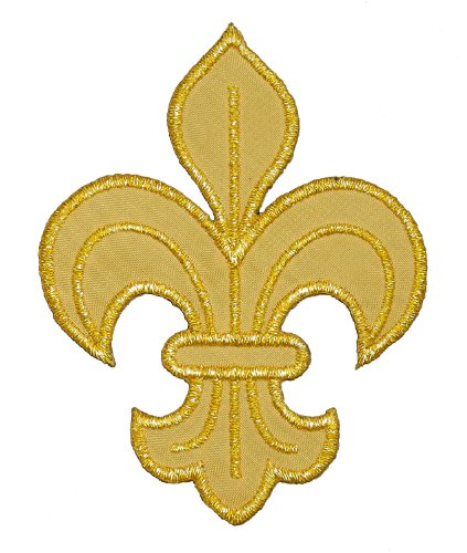 Gold Fleur de Lis Boy Girl Scout Scout DIY Applique Embroidered Sew Iron on Patch FDL-007 ()