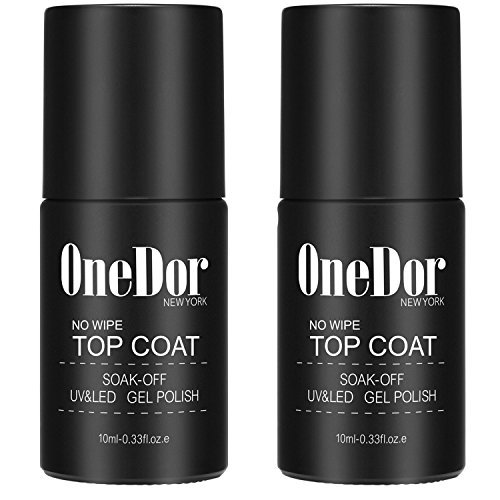 OneDor One Step Gel Polish UV Led Cured Required Soak Off No Wipe Top Coat Nail Polish (2 Pack No Wipe Top Coat)