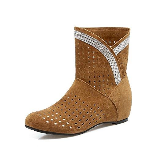 AllhqFashion Damen Mittler Absatz Gemischte Farbe Ziehen auf Rund Zehe Stiefel, Schwarz, 41