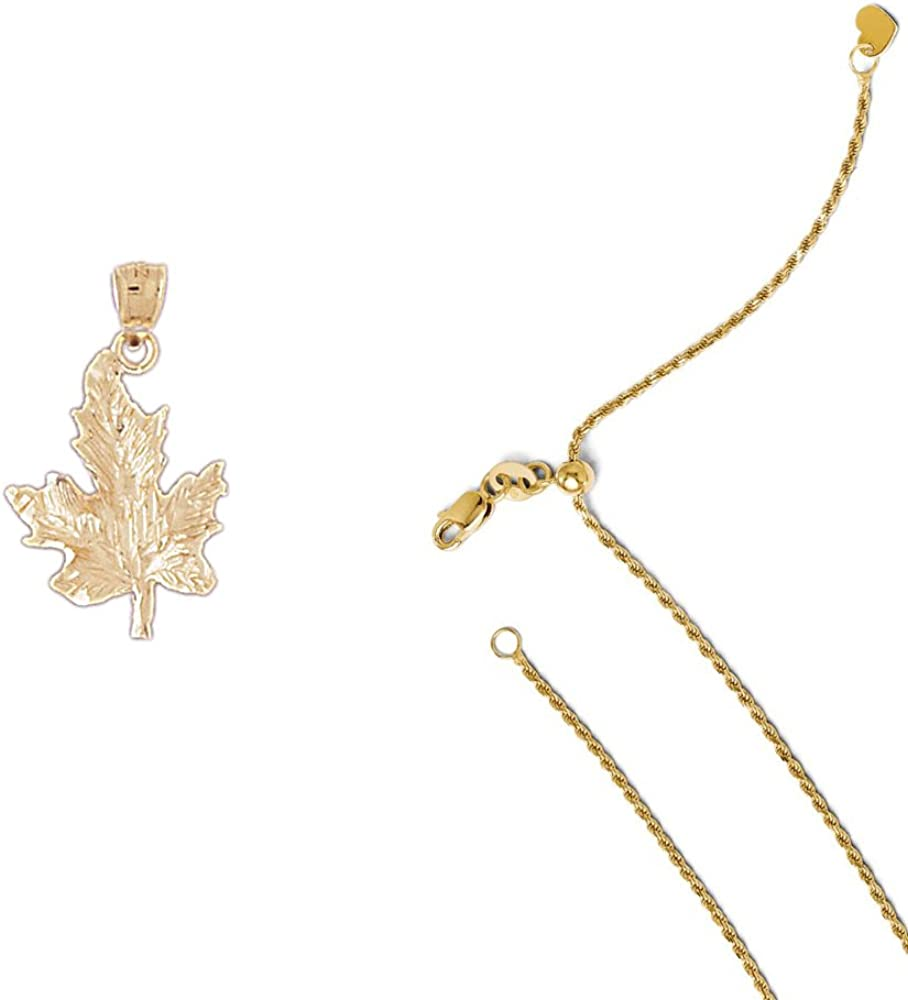 14K Yellow Gold Maple Leaf Pendant on an Adjustable 14K Yellow Gold Chain Necklace
