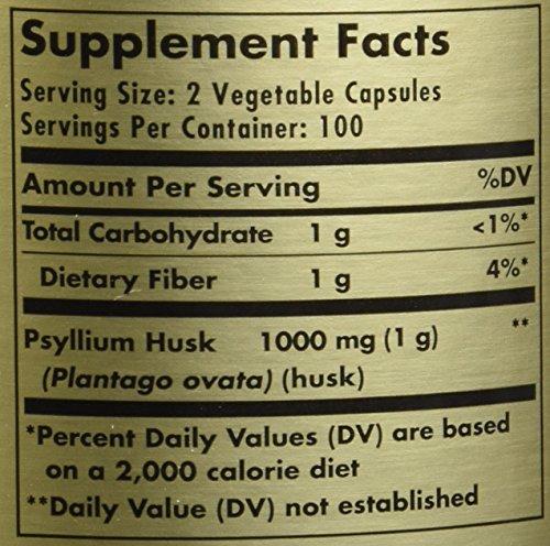 Solgar - Psyllium Husks Fiber 500 mg, 200 Vegetable Capsules by Solgar (Image #1)