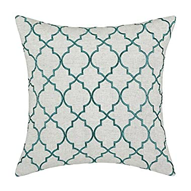 CaliTime Pillows Covers Linen Blend Vintage Diamonds Geometric Trellis Embroidered 17 X 17 Inches Teal