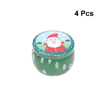 Toyvian Caja de Dulces de la Boda temática de Navidad Caja de Regalo de hojalata Cajas de Lata pequeñas Fuentes del Partido 4pcs (patrón Aleatorio): ...