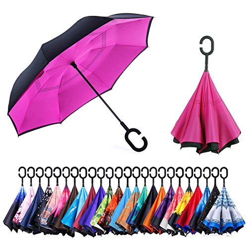 Newsight Reverse/Inverted Double-Layer Waterproof Straight Umbrella, Self-Standing & C-Shape Handle & Carrying Bag for Free Hands, Inside-Out Folding for Car Use (Red of Rose)