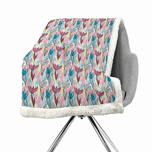 Khakihome Leaves Blanket Small Quilt 60 by 47 Inch Fleece MulticolorColorful Line Art Inspirations in Foliage Composition Vintage Natural Formations ()