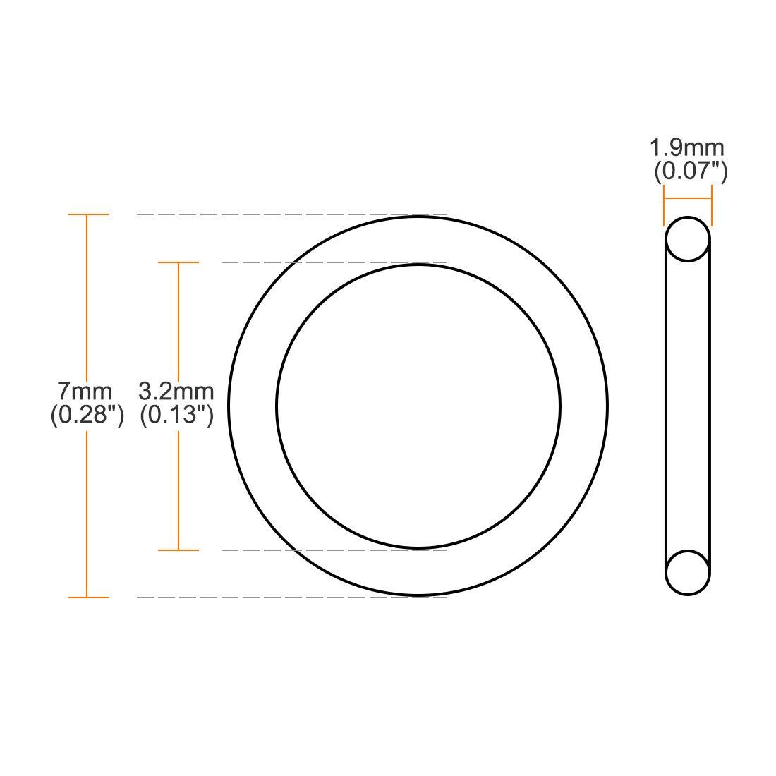 Seal Gasket Black 25Pcs 1.5mm Width uxcell Fluorine Rubber O Rings 1.5mm Inner Diameter 4.5mm OD