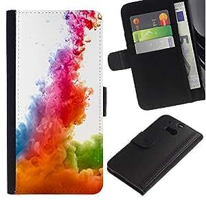 UberTech / HTC One M8 / Liquid Dynamics Rainbow White / Cuero PU Delgado caso Billetera cubierta Shell Armor Funda Case Cover Wallet Credit Card