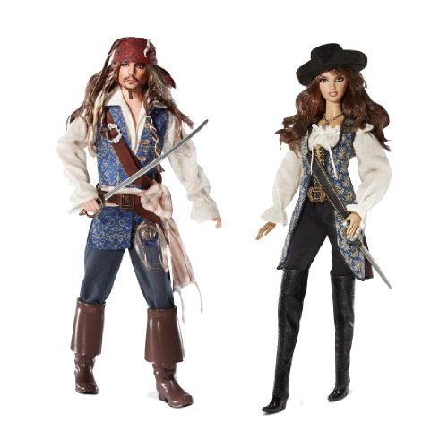 (Barbie Collector Pirates of The Caribbean Captain Jack Sparrow and Angelica Dolls)