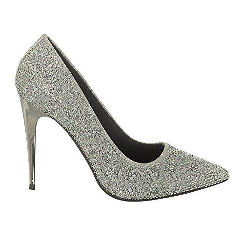 High Metallic Stiletto Heel Court Shoe Embellished with Stones. Silver wjSIBX9akT