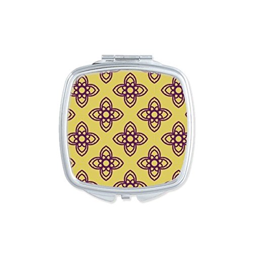 Kingdom of Thailand Thai Traditional Customs Golden Purple Crossing Weaving Decorative Pattern Satin Shrine Art Illustration Square Compact Makeup Pocket Mirror Portable Cute Small Hand Mirrors by DIYthinker