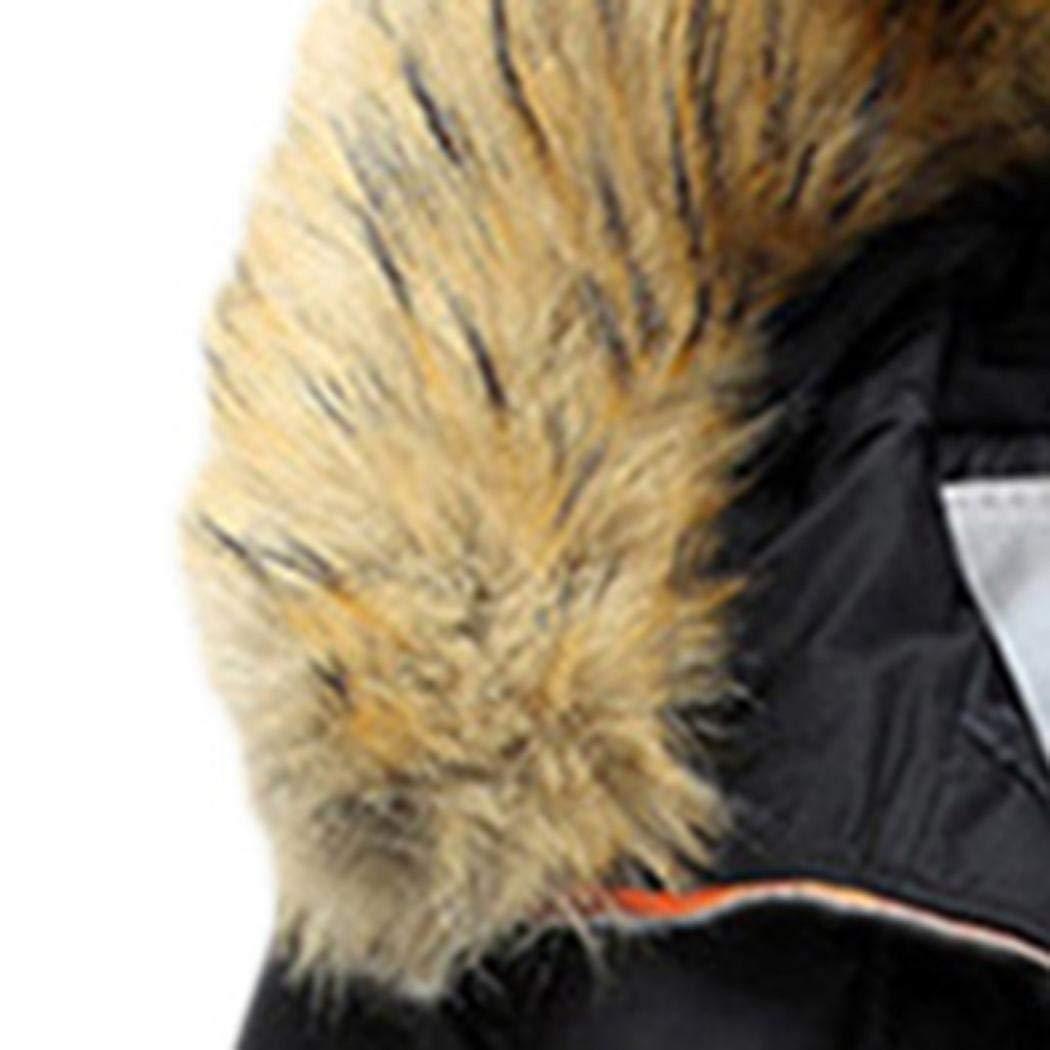 Sisaki Homme Hiver Chaud Manteau Fourrure à Capuchon Parka Mens Outdoor Jacket Noir