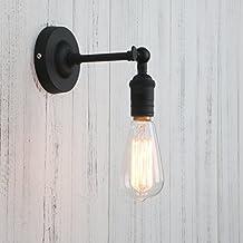 Permo Vintage Industrial Pole Wall Mount Mini Single Sconce Metal Wall Sconces Fixture (Black)