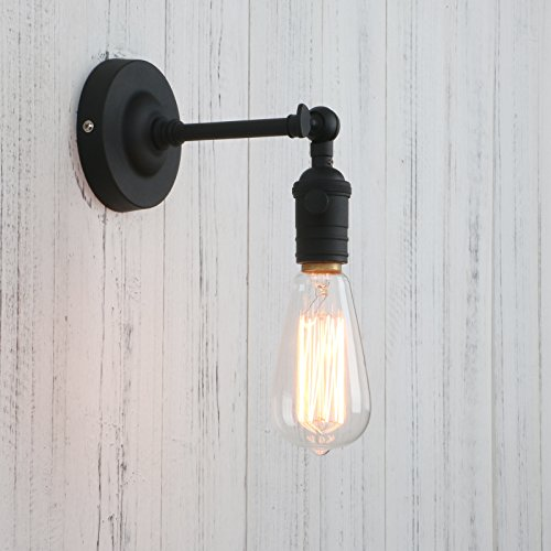 Permo Vintage Industrial Pole Wall Mount Mini Single Sconce Metal Wall Sconces Fixture (Black) - Old Bronze Halogen Reading Lamp