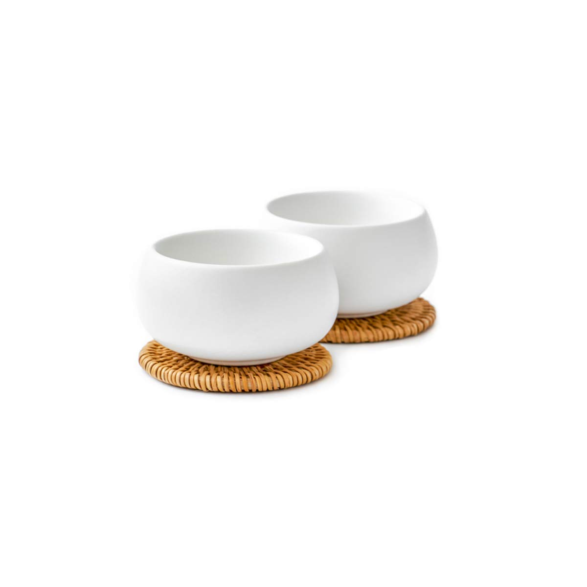 ZENS Tea Cup Set of 2, 55ml with Rattan Coasters, Double Wall Blue Ceramic, for Dessert Sauce Appetizer Ice Cream ZENSA5500486-C1100058