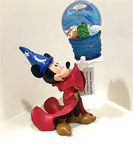 Mickey Mouse Snowglobe - Walt Disney World Sorcerer Mickey Mouse Figurine Four Parks Snowglobe NEW
