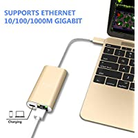 USB-C to Ethernet Adapter, Type c to 1 USB C Power Delivery +1 Gigabit Ethernet 10/100/1000 Mbps LAN Network for MacBook,Google Chromebook Pixel and more Type C Devices (Gold)