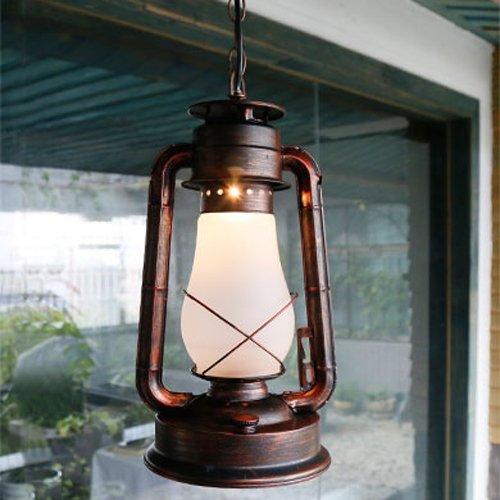 Chinese Style Kerosene Retro Pendant Lights Chandelier Old Style Lantern Antique Ceiling Lamp Cowboy Iron Adjustable Hanging Light For Bar Cafe (Size : L)