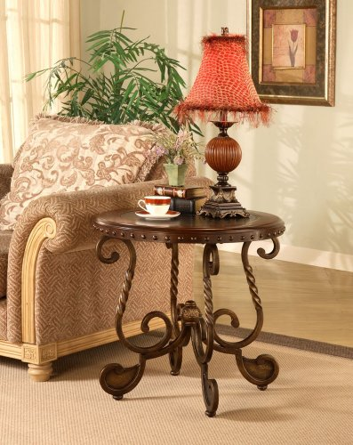 Antique Brass and Wood Nailhead Inlay End Table Accent Furniture For Sale