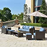ovios Patio furnitue, Outdoor Furniture Sets,Morden Wicker Patio Furniture sectional with Table and Waterproof Covers,Backyard,Pool,Aluminum,Brown,Blue