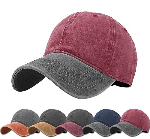 - Aedvoouer Men Women Baseball Cap Vintage Cotton Washed Distressed Hats Twill Plain Adjustable Dad-Hat (Burgundy+Dark Grey)