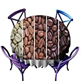 AndyTours Indoor/Outdoor Round Tablecloth,Coffee,Vertical Banner Stages of Beans from Raw to Roasted Java Processing Addictive,Party Decorations Table Cover Cloth,67 INCH Ivory Brown White