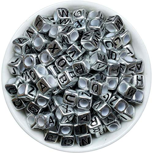 (iZasky Pony Beads Letters 200Pcs/Lot Mixed Color Alphabet Cube Bead Making Bracelets, Necklaces, Key Chains and Jewelry (Silver - Black Alphabet))