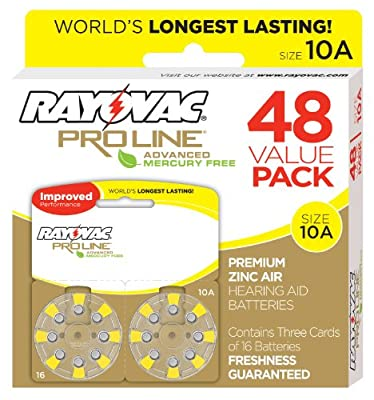 Rayovac Proline Advanced Size 10 Hearing Aid Batteries (48 Pack)