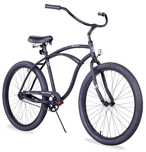 Firmstrong Urban Man Alloy Single Speed Beach Cruiser Bicycle, 26-Inch, Matte Black