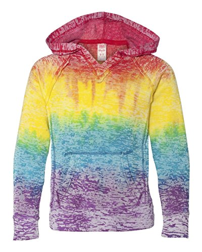MV Sport 1162Y Girls' Courtney V-Notch Sweatshirt Rainbow Stripe XL (Biker Kids Sweatshirt)