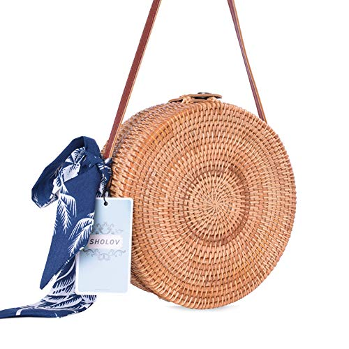 Round Rattan Bags, Heegay Handmade Bali Ata Straw Woven Circle Crossbody Handag for Women with Shoulder Leather Strap