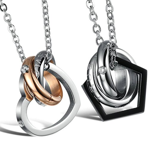 Daesar His & Hers Couples Stainless Steel Necklace with