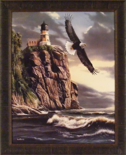 Split Rock Splendor by Kevin Daniel 27x33 Eagle Flying Over Lighthouse North Shore Lake Superior Framed Art Print Wall Décor Picture (Lighthouse Framed Pictures)