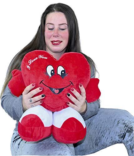 ML Regalo para el Dia de la Madre Toys Corazon de Peluche con pies Te Quiero de Altura 35 cms Tiene un Mensaje de I Love You